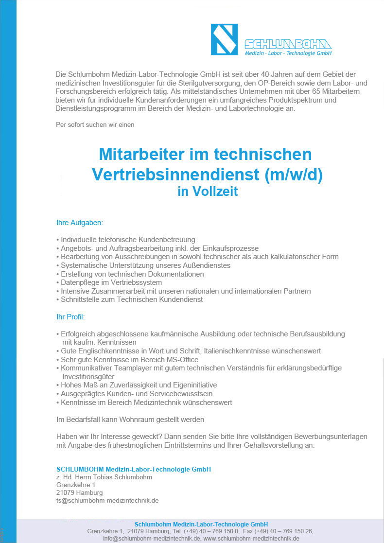 Mitarbeiter im technischen Vertriebsinnendienst (m/w/d) in Vollzeit