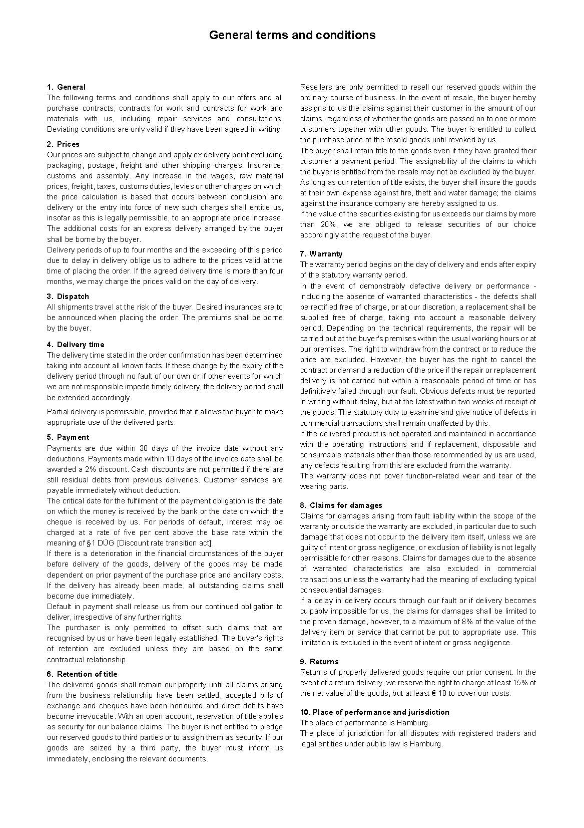 SCHLUMBOHM General terms and conditions